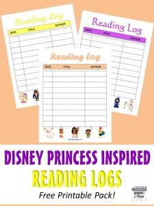 Disney Princess Inspired Reading Logs