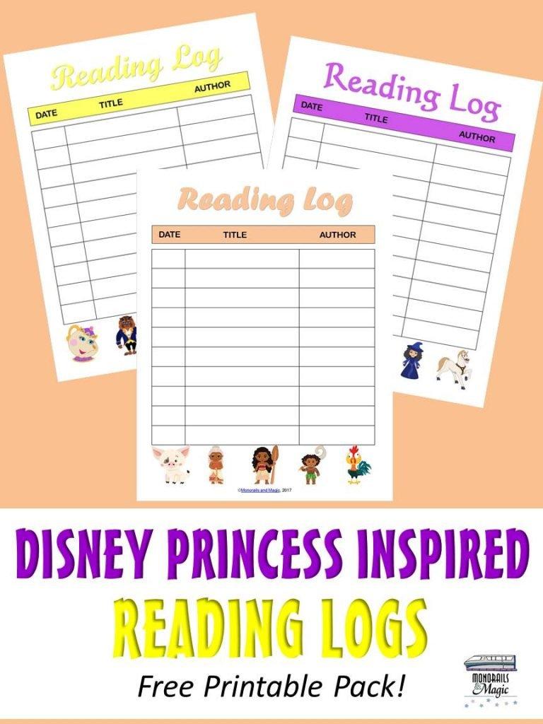 Disney Princess Inspired Reading Logs