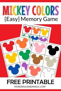 Mickey Colors Memory Game Free Printable