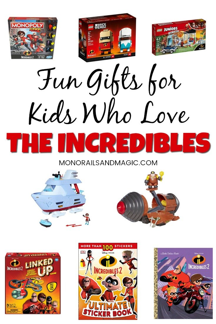 Fun gifts for kids who love The Incredibles movies. Books, games, and more! #theincredibles #giftsforkids #disneyfun