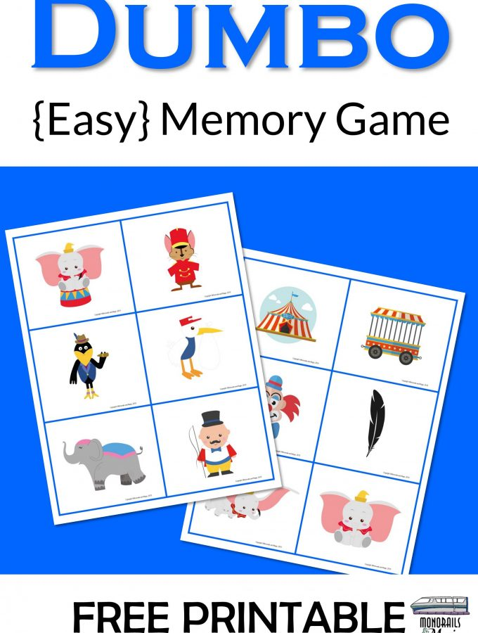 Dumbo Memory Game Free Printable