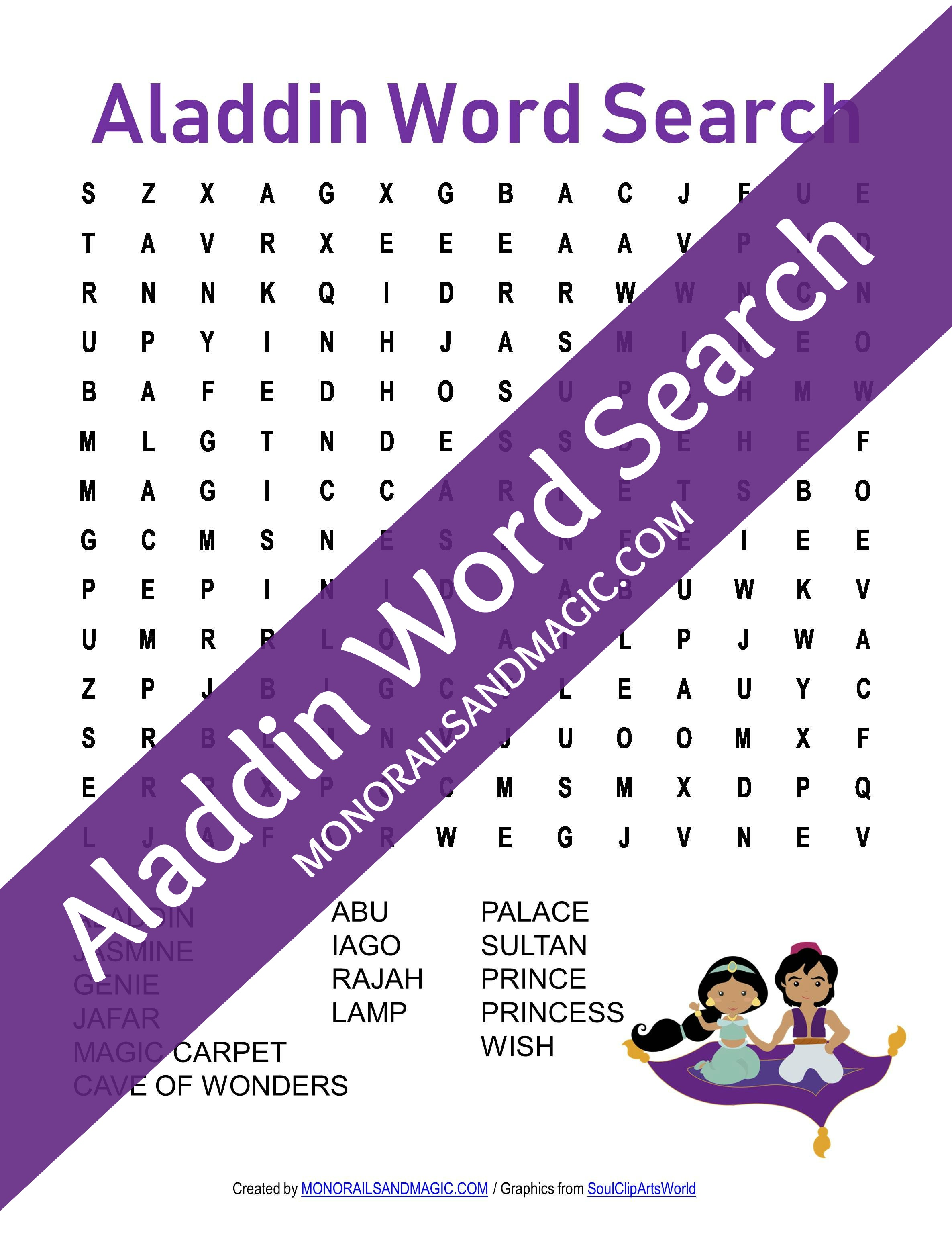 Aladdin Word Search Free Printable