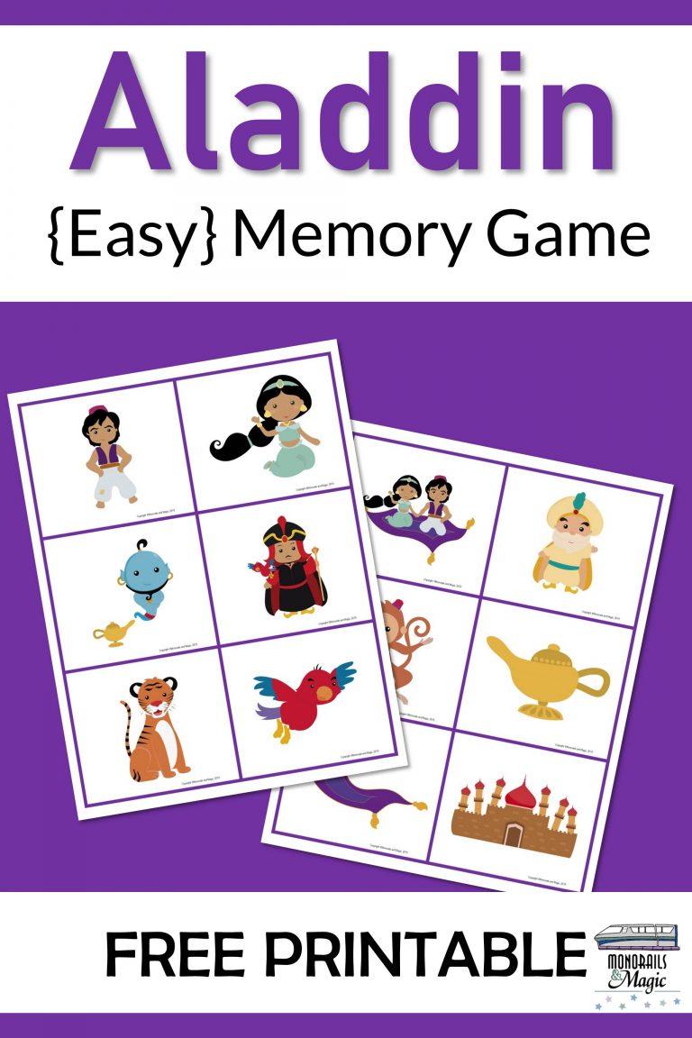 Aladdin Memory Game Free Printable