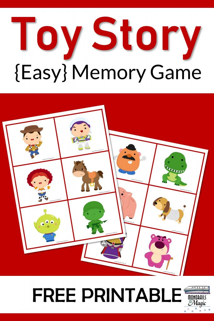 Free Printable Toy Story Memory Game for Kids