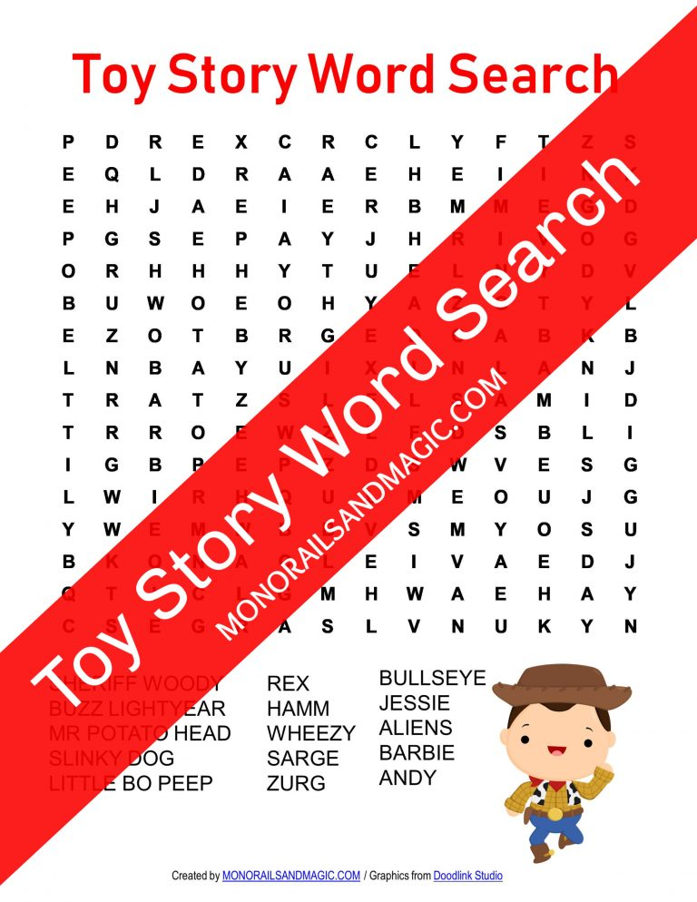 Toy Story Word Search Free Printable