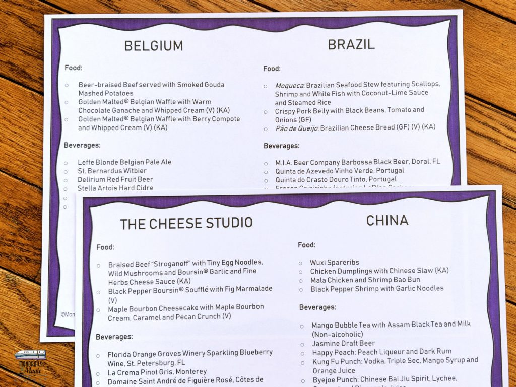 Epcot International Food and Wine Festival Checklist 2109 Examples