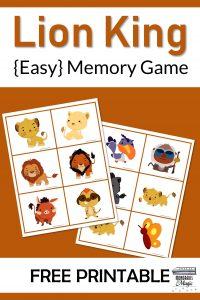 Lion King Memory Game Free Printable
