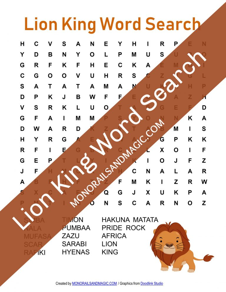 Lion King Word Search Free Printable