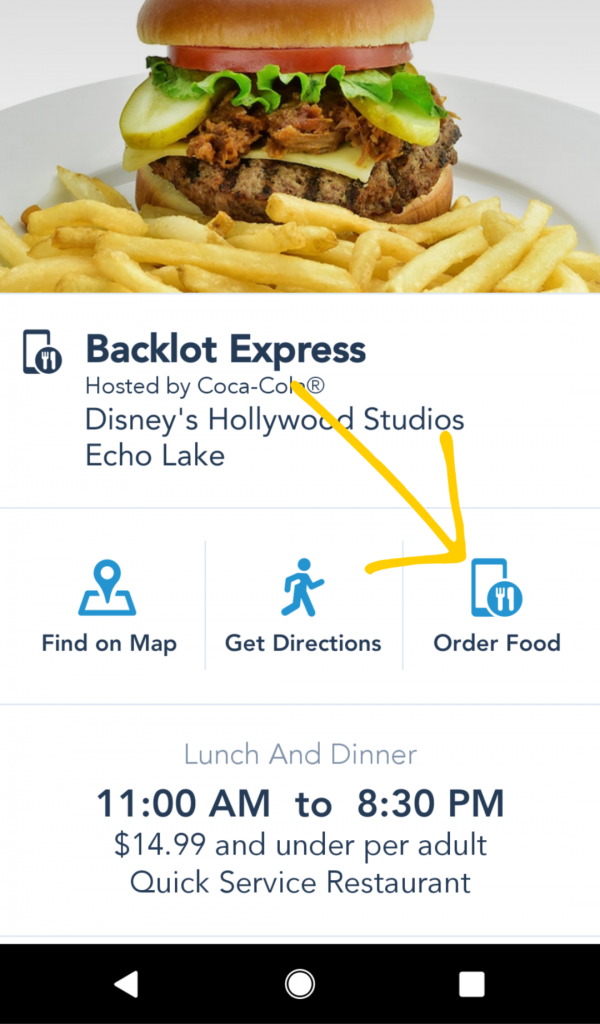 Where to find mobile ordering on the My Disney Experience app.