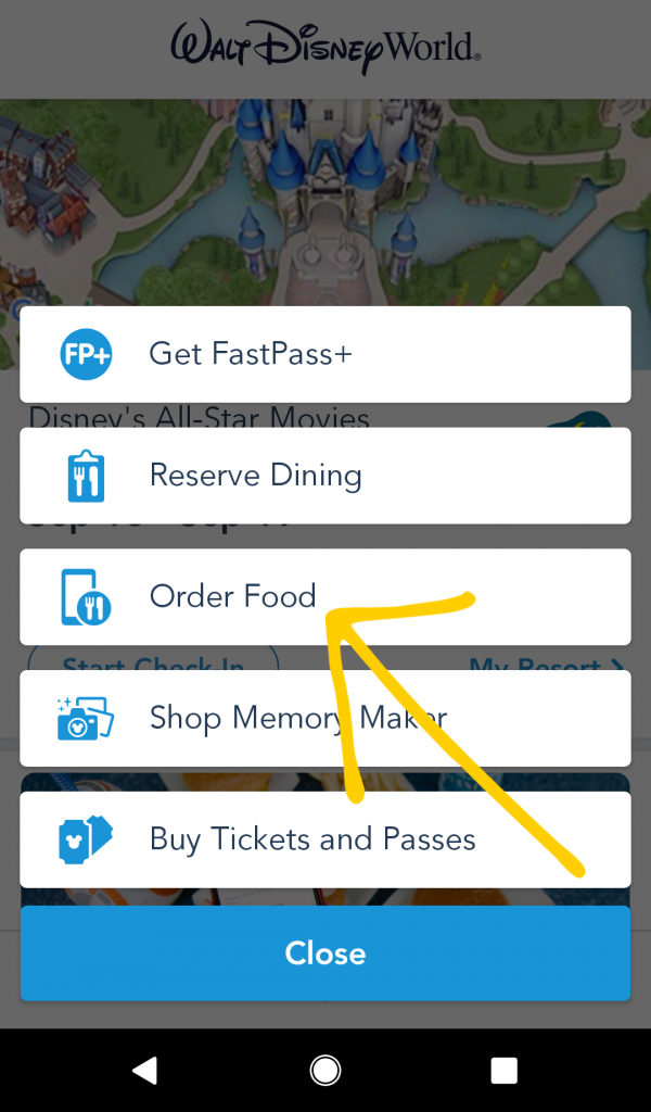 Where to find mobile ordering for Walt Disney World on the My Disney Experience app.