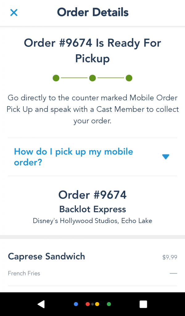 Mobile Order Your Food Is Ready Screen