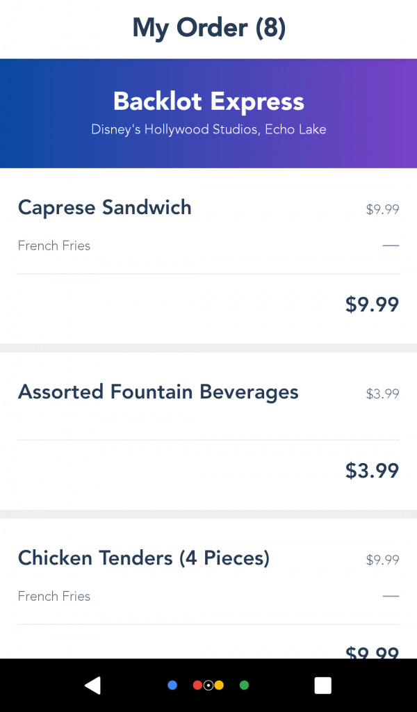 Mobile Order Reviewing Your Order Screen