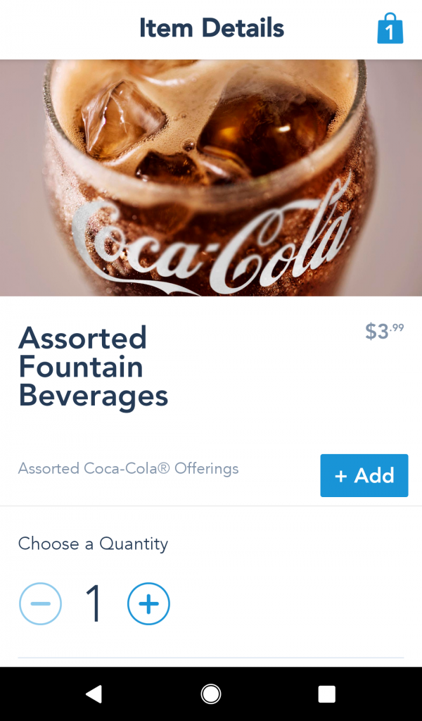 Mobile Order Fountain Beverage Options
