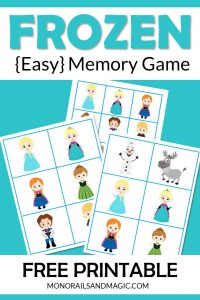 Free printable Frozen memory game for kids.