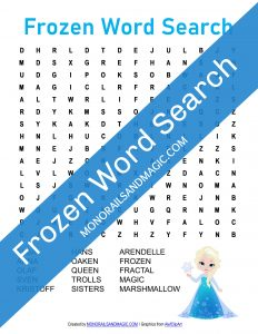 Frozen Word Search Free Printable