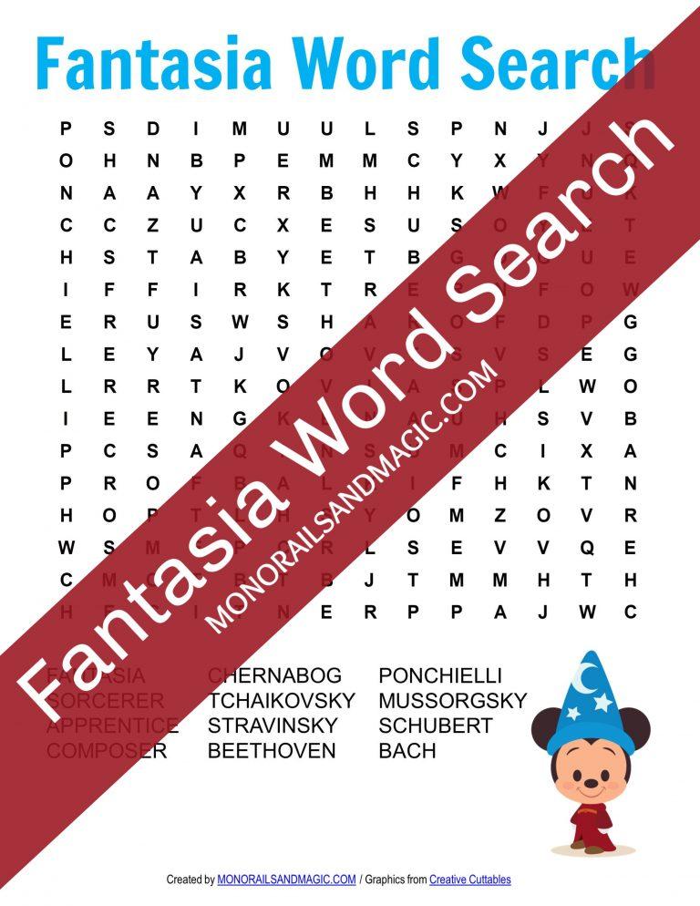 Fantasia Word Search Free Printable