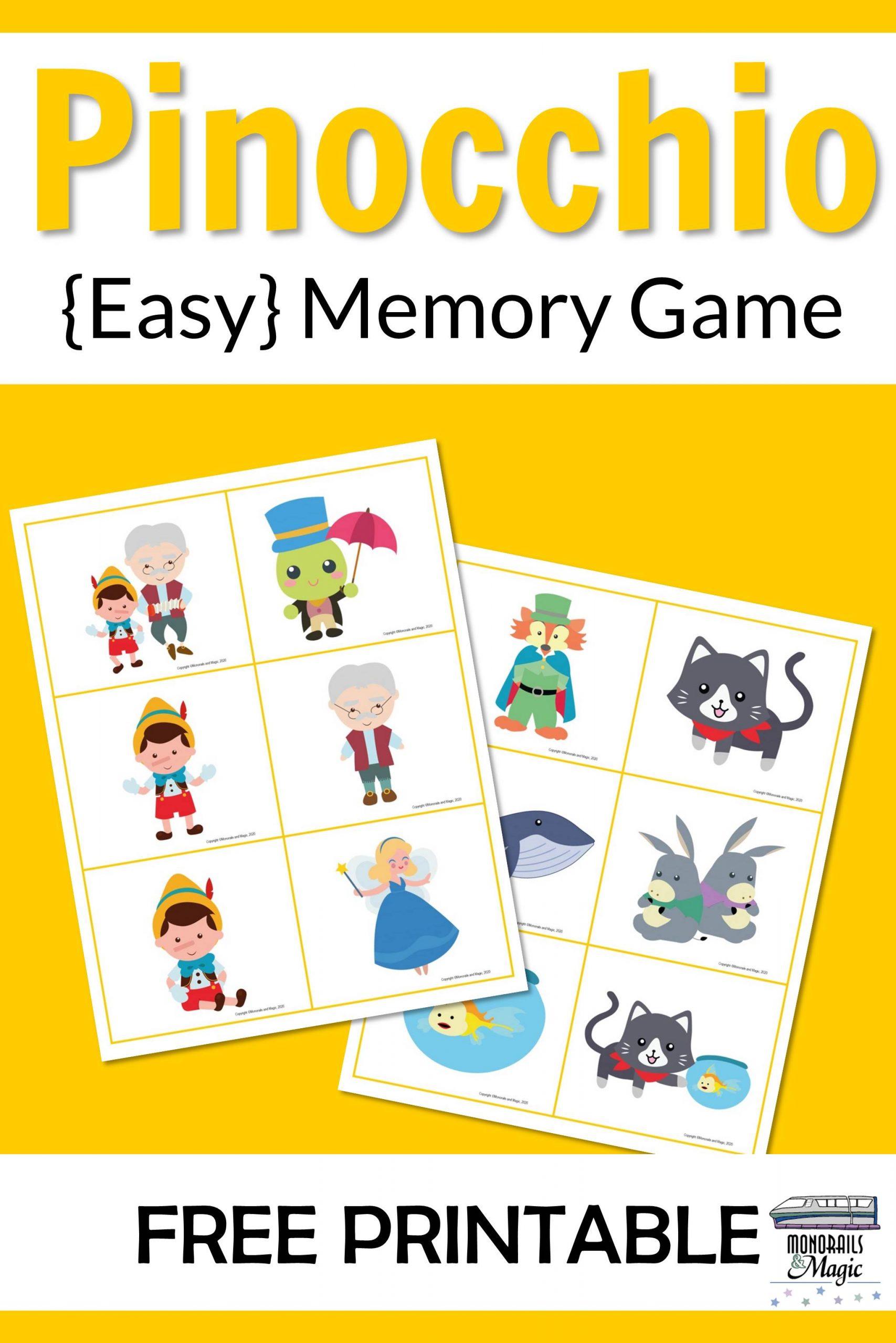 Pinocchio Memory Game Free Printable