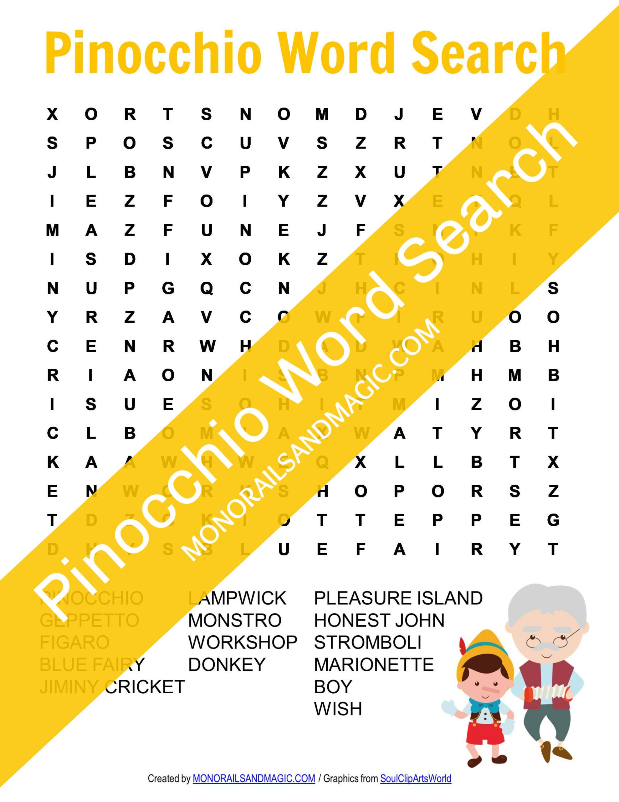 Pinocchio Word Search Free Printable