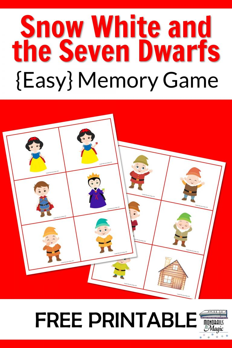 Snow White and the Seven Dwarfs Memory Game Free Printable