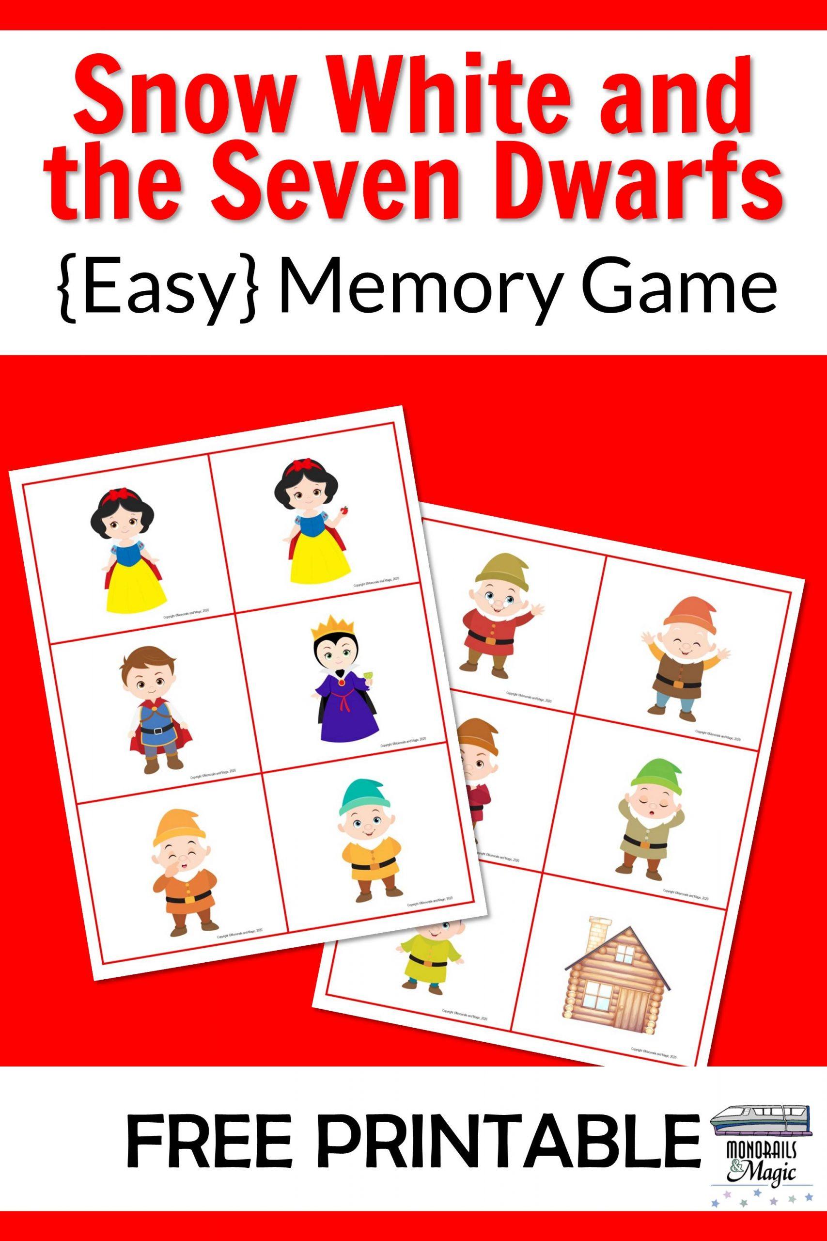 Snow White Memory Game Free Printable