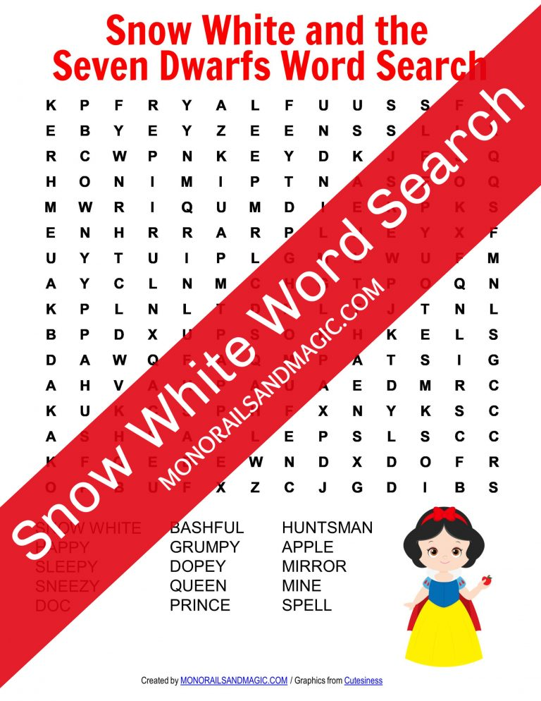 Snow White and the Seven Dwarfs Word Search Free Printable