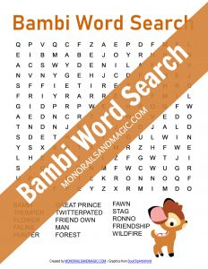 Bambi Word Search Free Printable