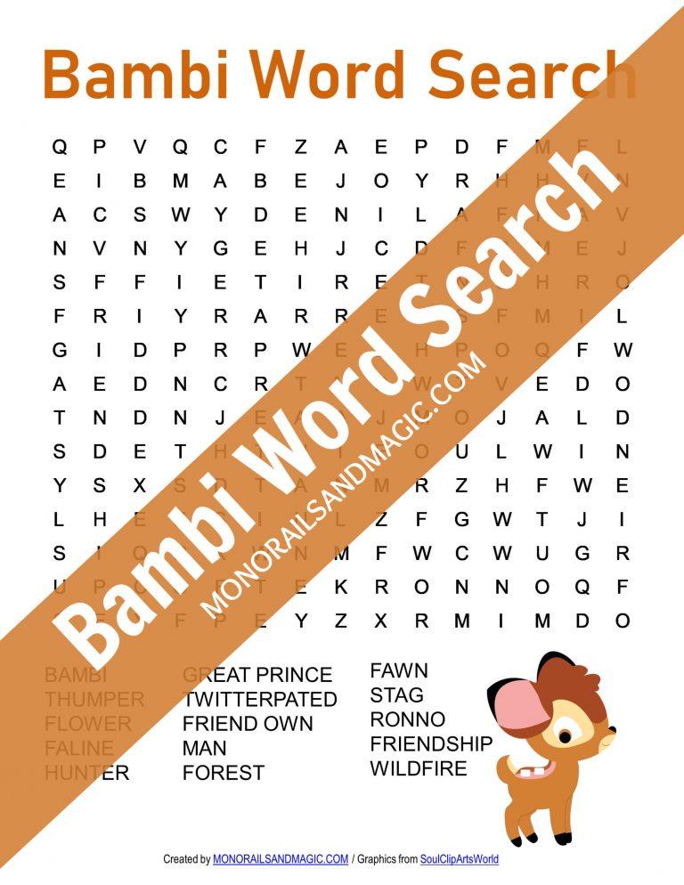 Bambi Word Search Free Printable