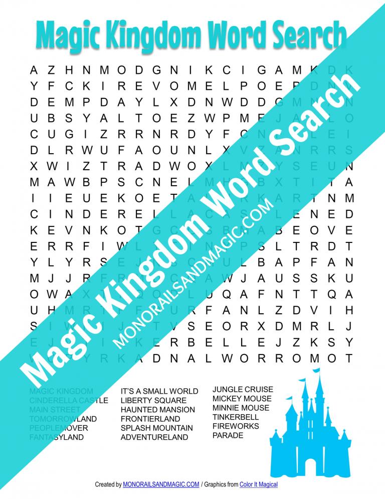 Magic Kingdom Word Search Free Printable