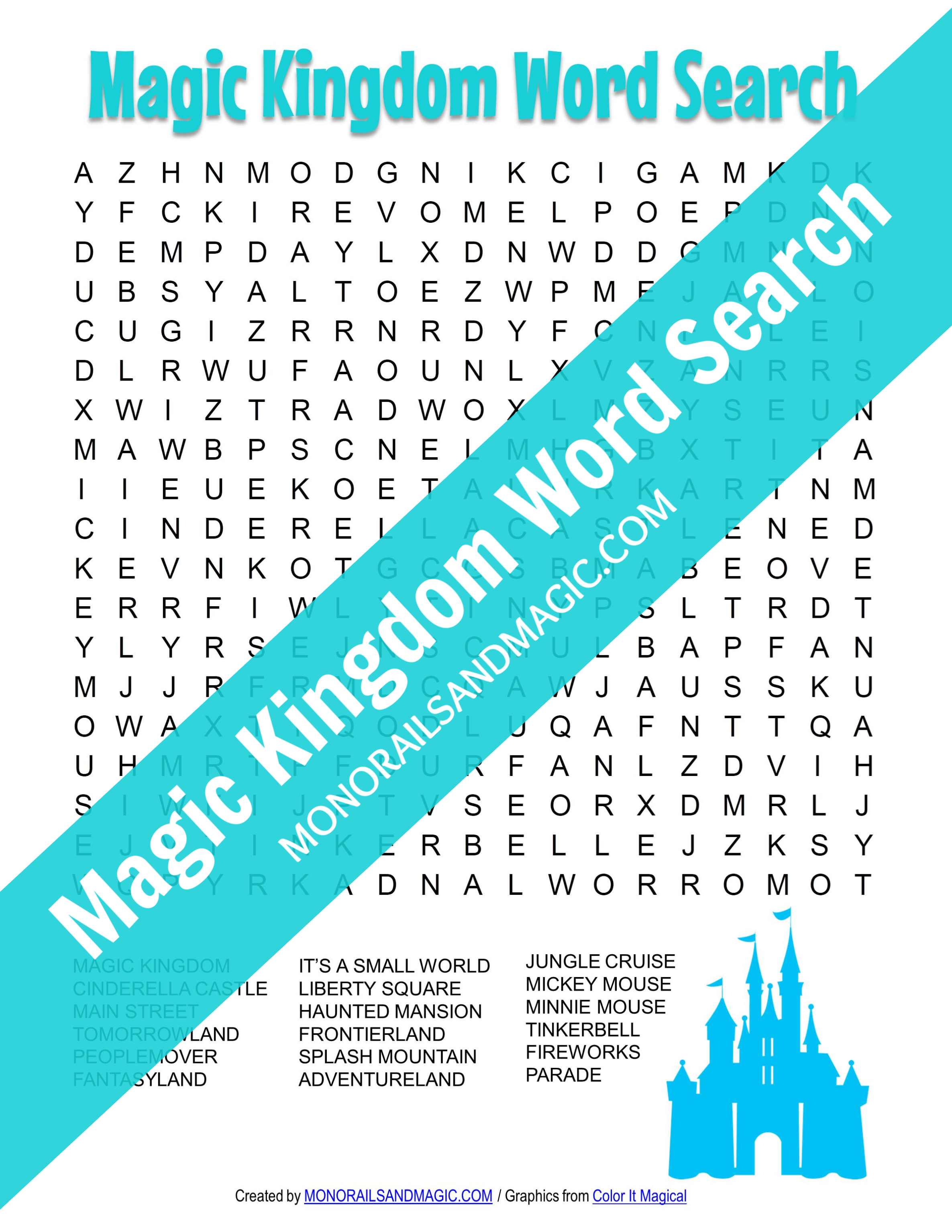Free printable Magic Kingdom word search.
