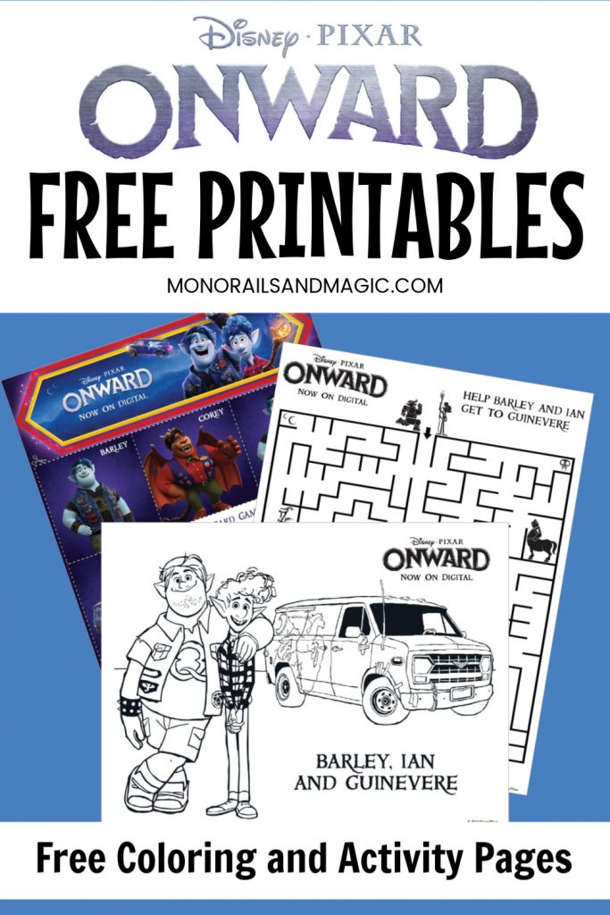 Free printable Onward coloring and activity pages