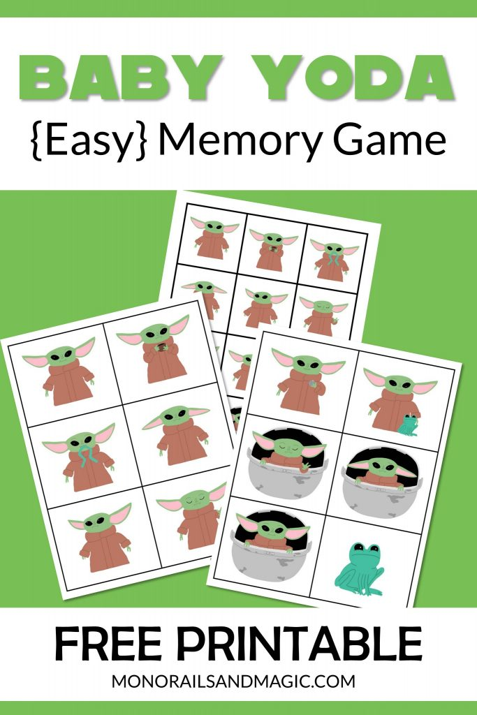 Free printable Baby Yoda memory game for kids.