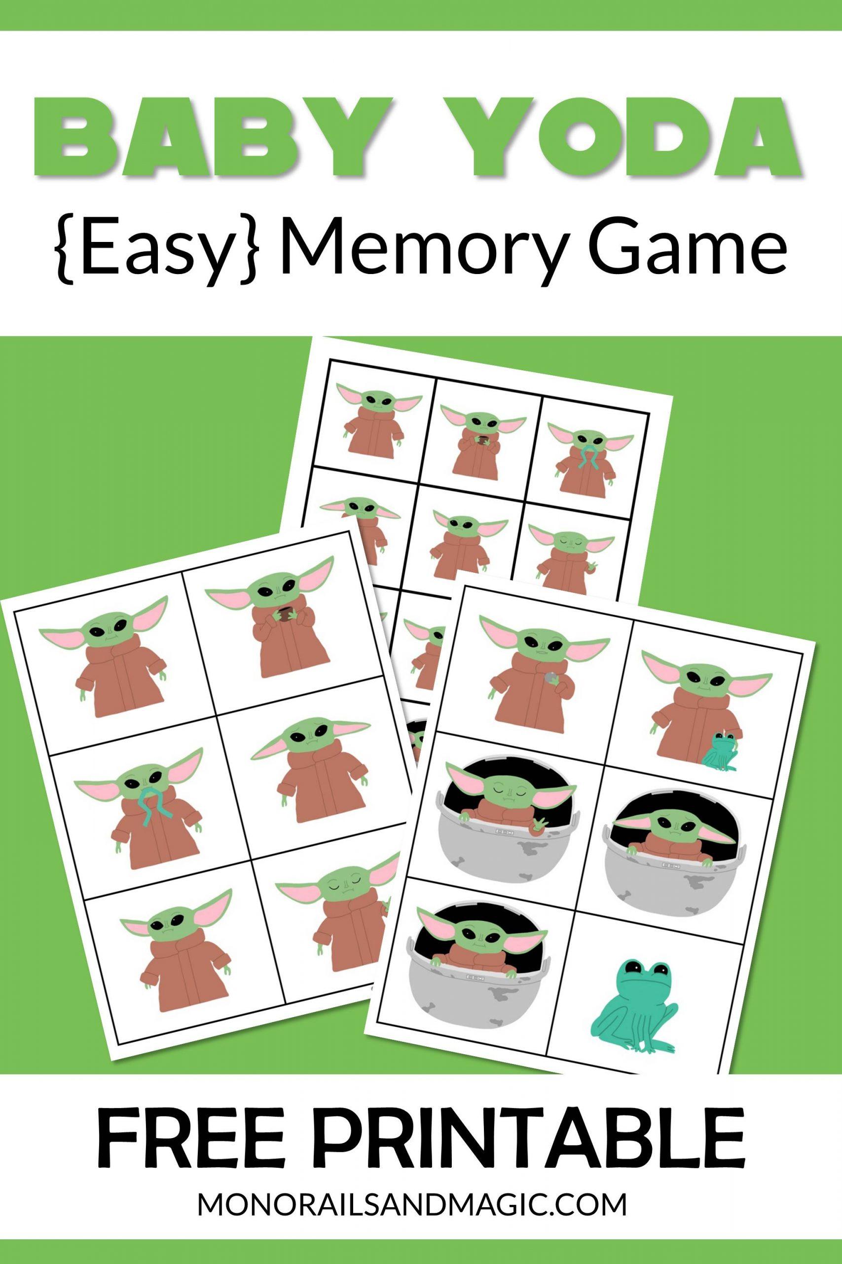 Free printable Baby Yoda memory game for kids.