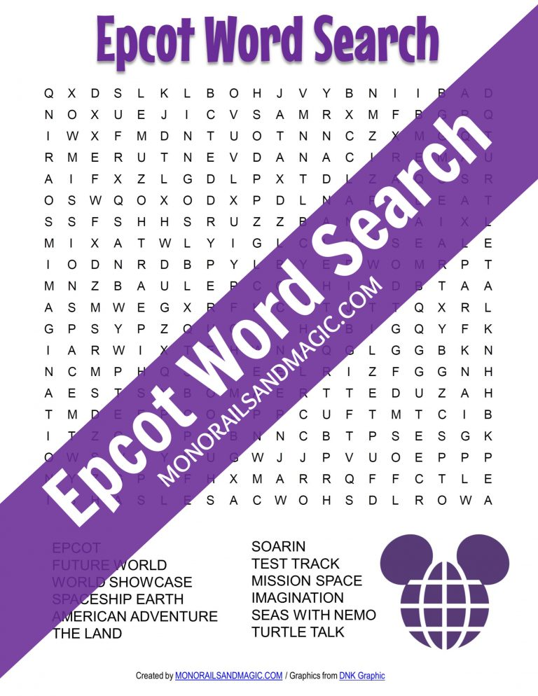 Epcot Word Search Free Printable