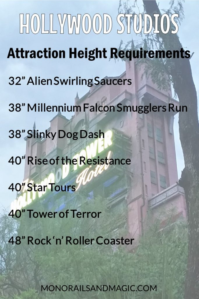 Walt Disney World Attraction Height Requirements for Hollywood Studios