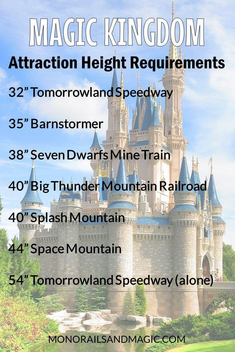 Walt Disney World Attraction Height Requirements for Magic Kingdom