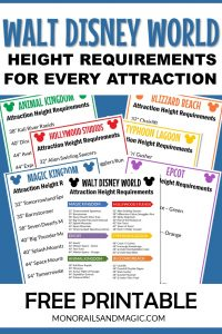 Walt Disney World Attraction Height Requirements Free Printable