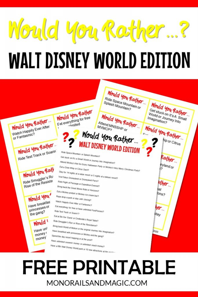 Free printable would you rather game with a Walt Disney World theme.