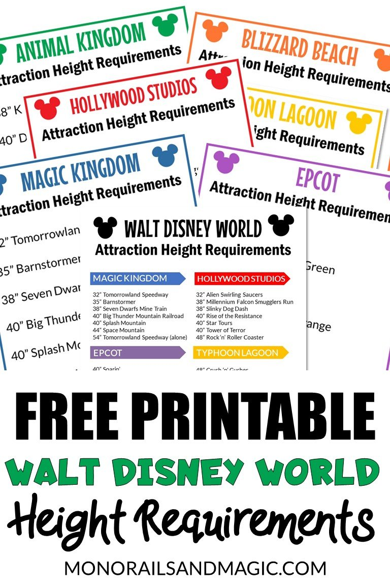 Height restrictions for every ride at Walt Disney World with a free printable list.