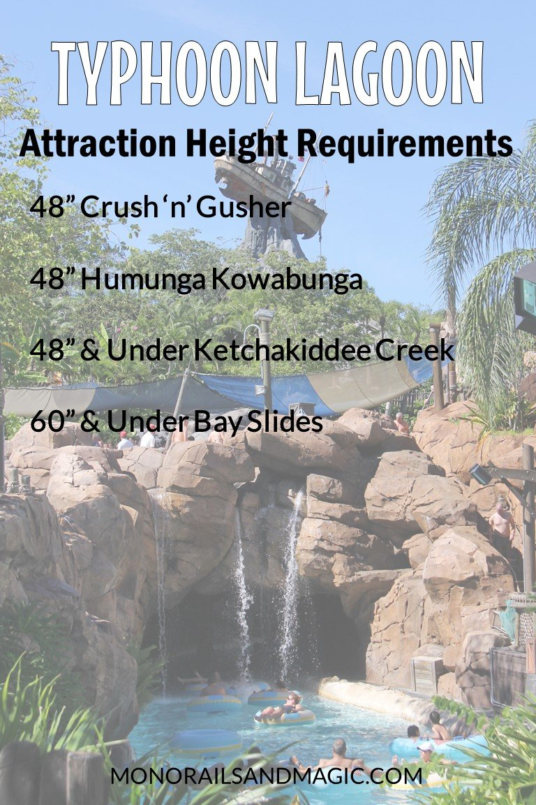 Height Requirements for Typhoon Lagoon