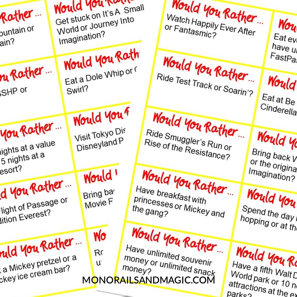 Free printable would you rather game for Walt Disney World fans.