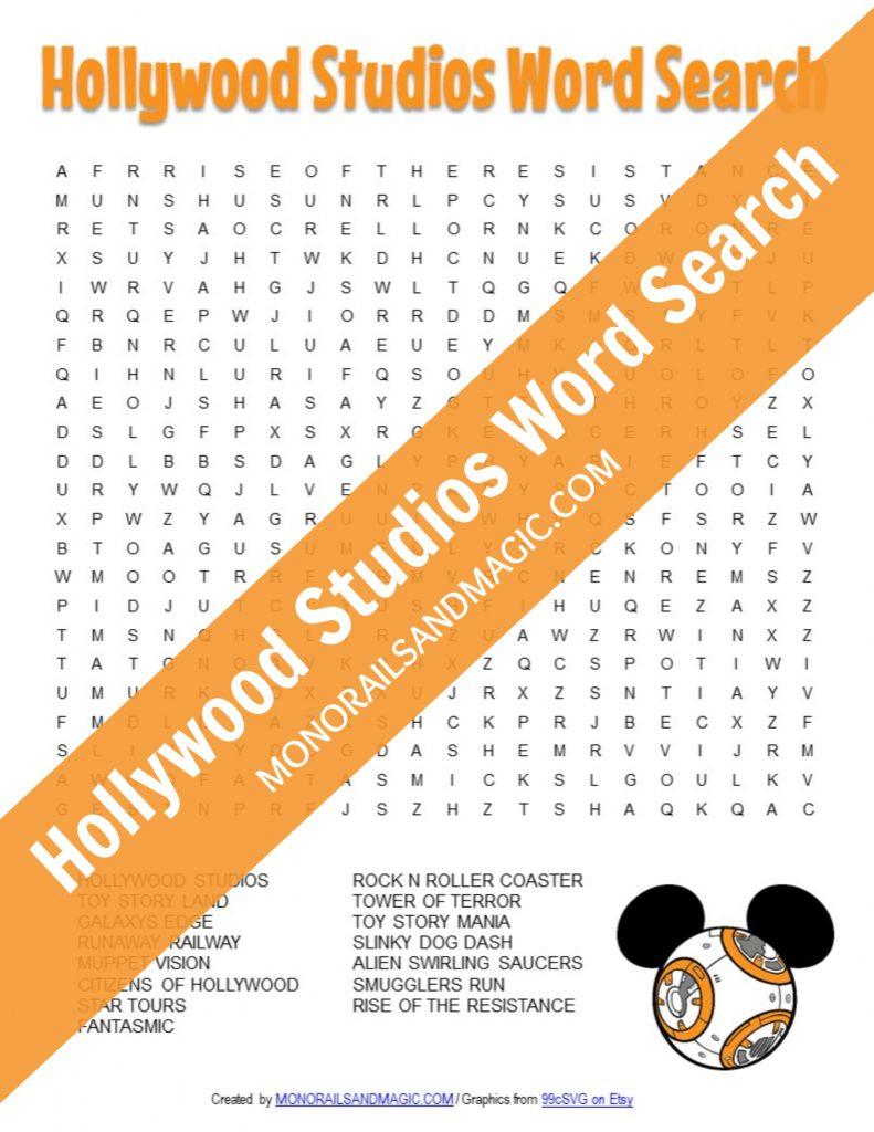 Free Printable Hollywood Studios Word Search