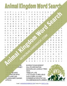 Free printable word search for Disney's Animal Kingdom.