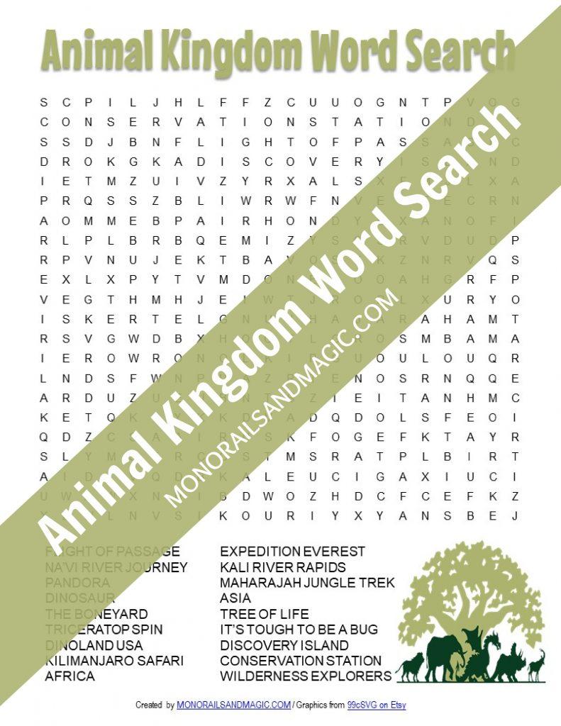 Free printable Animal Kingdom word search for kids.