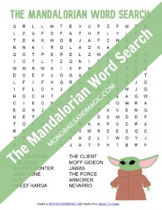 Free Printable Word Search for Disney's The Mandalorian