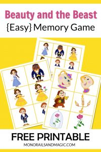 Free printable Beauty and the Beast memory game for kids.