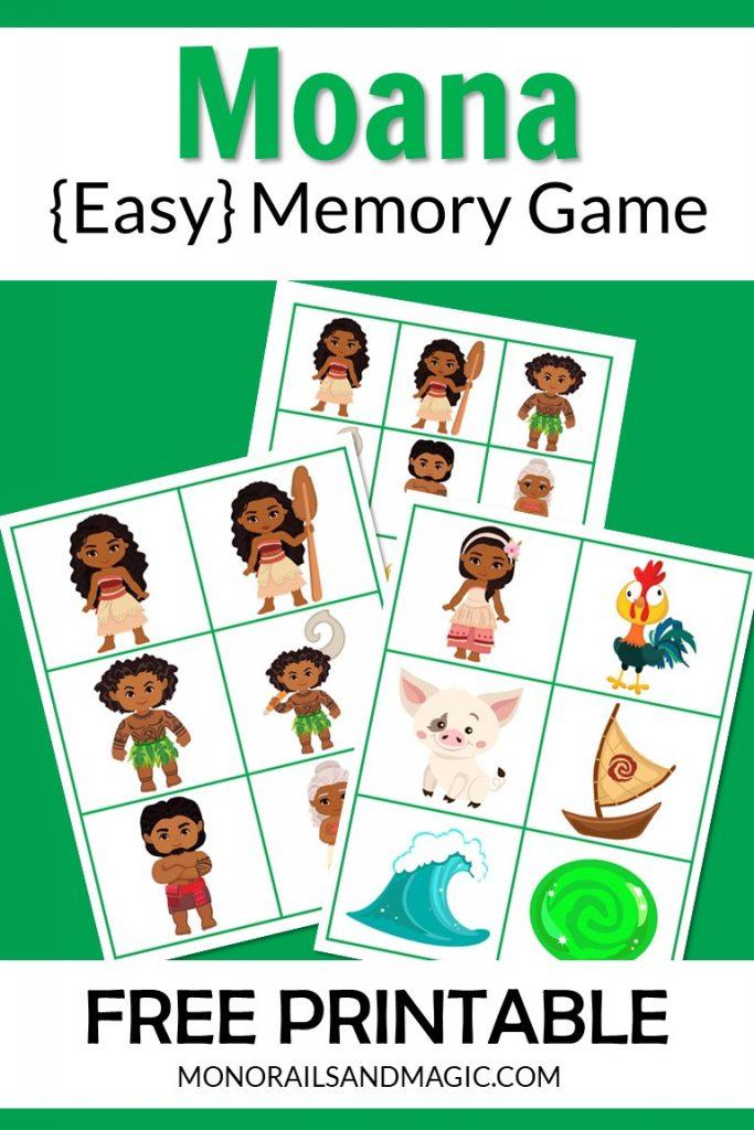 Free printable Moana memory game for kids.