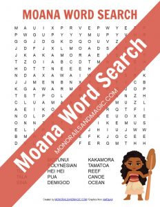 Moana word search free printable for kids