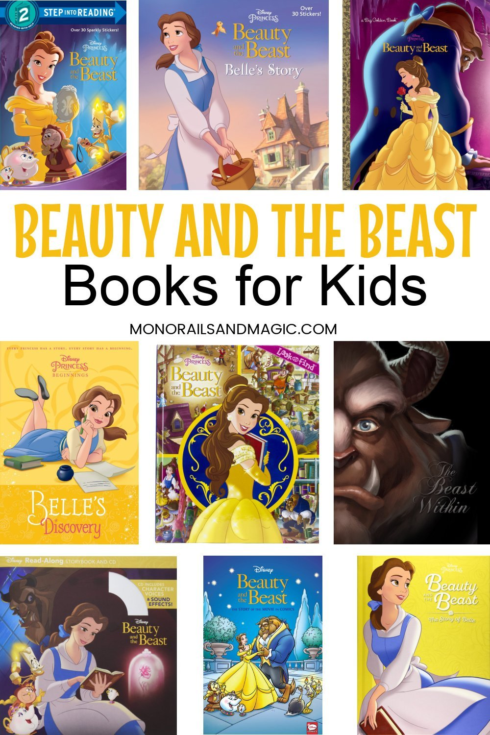 Fun list of Beauty and the Beast Disney books for kids