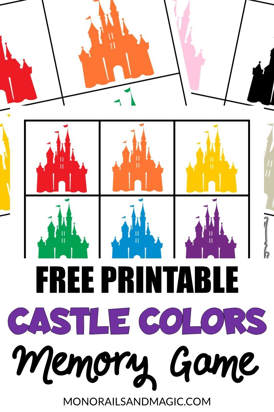 Disney castle colors memory matching game free printable