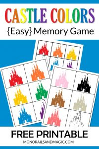 Free printable Disney castle colors memory game for kids